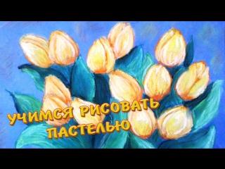Учимся рисовать пастелью.  Букет тюльпанов / Figure pastel. Tulips