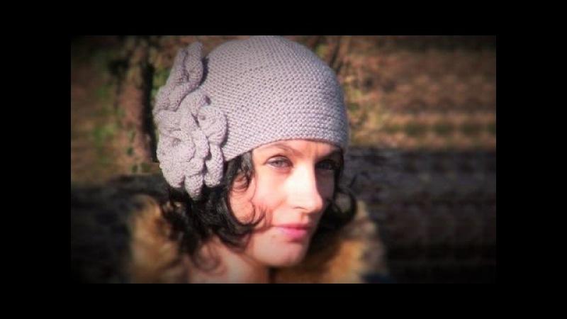 2 МК. ВИНТАЖНАЯ шапка спицами с ЦВЕТАМИ. Вяжем шапочку ПЛАТОЧНОЙ ВЯЗКОЙ. Шапки спицами