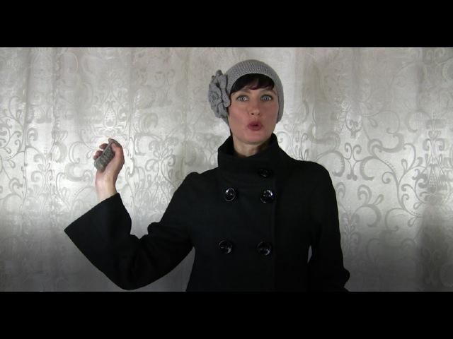 1 МК. ВИНТАЖНАЯ шапка спицами с ЦВЕТАМИ. Шапочка спицами ПЛАТОЧНОЙ ВЯЗКОЙ. Шапки спицами