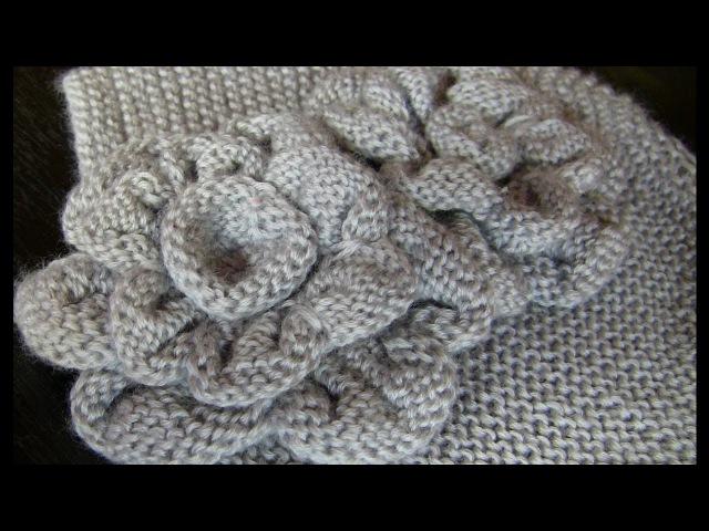 3 МК. ЦВЕТЫ спицами для винтажной шапочки. Вязание: цветочки спицами