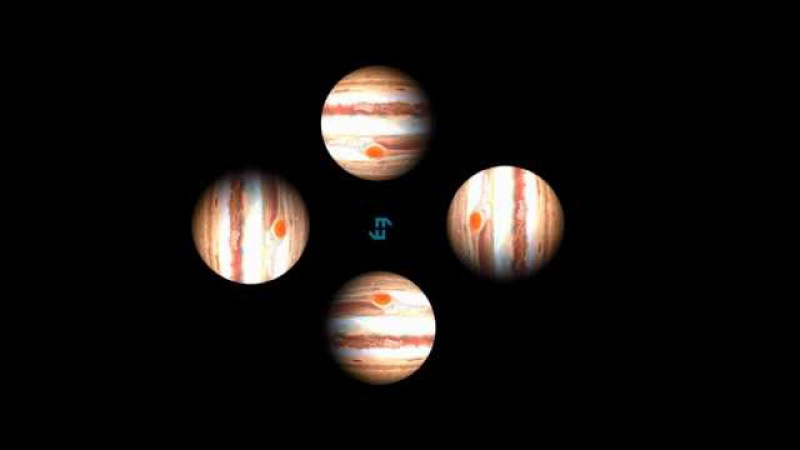 Planet Jupiter Rotation Hologram HD with Jovian Chorus Sounds