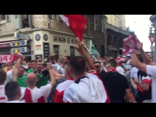 Poland fans learning the song fans getting on great in Nice