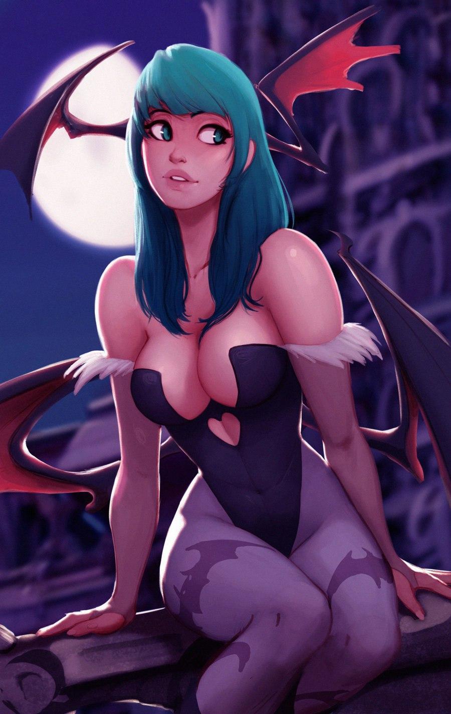 Арт на милую Морриган из игры DarkStalkers (Raichiyo33)