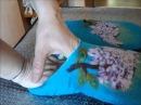 МК как сделать красивую пяточку на валяных тапочках шлепках