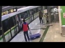 Father trying to catch a metro train uses a pram with his kid inside to jam the closing doors
