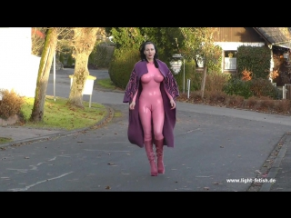 big fake boobs pink111 latex catsuit pony fur stiletto boots vintage fetish streetshots