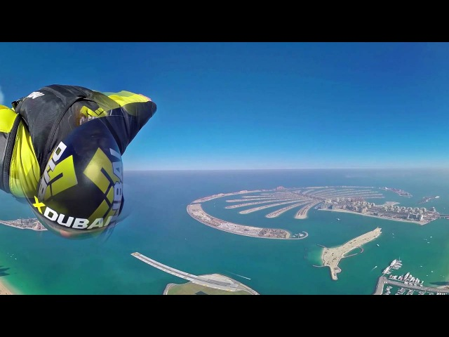 Wingsuit 360 degree video over Dubai