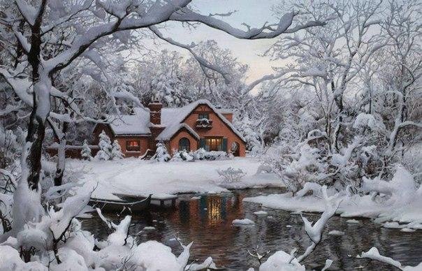 Зимние пейзажи художника Евгения Лушпина