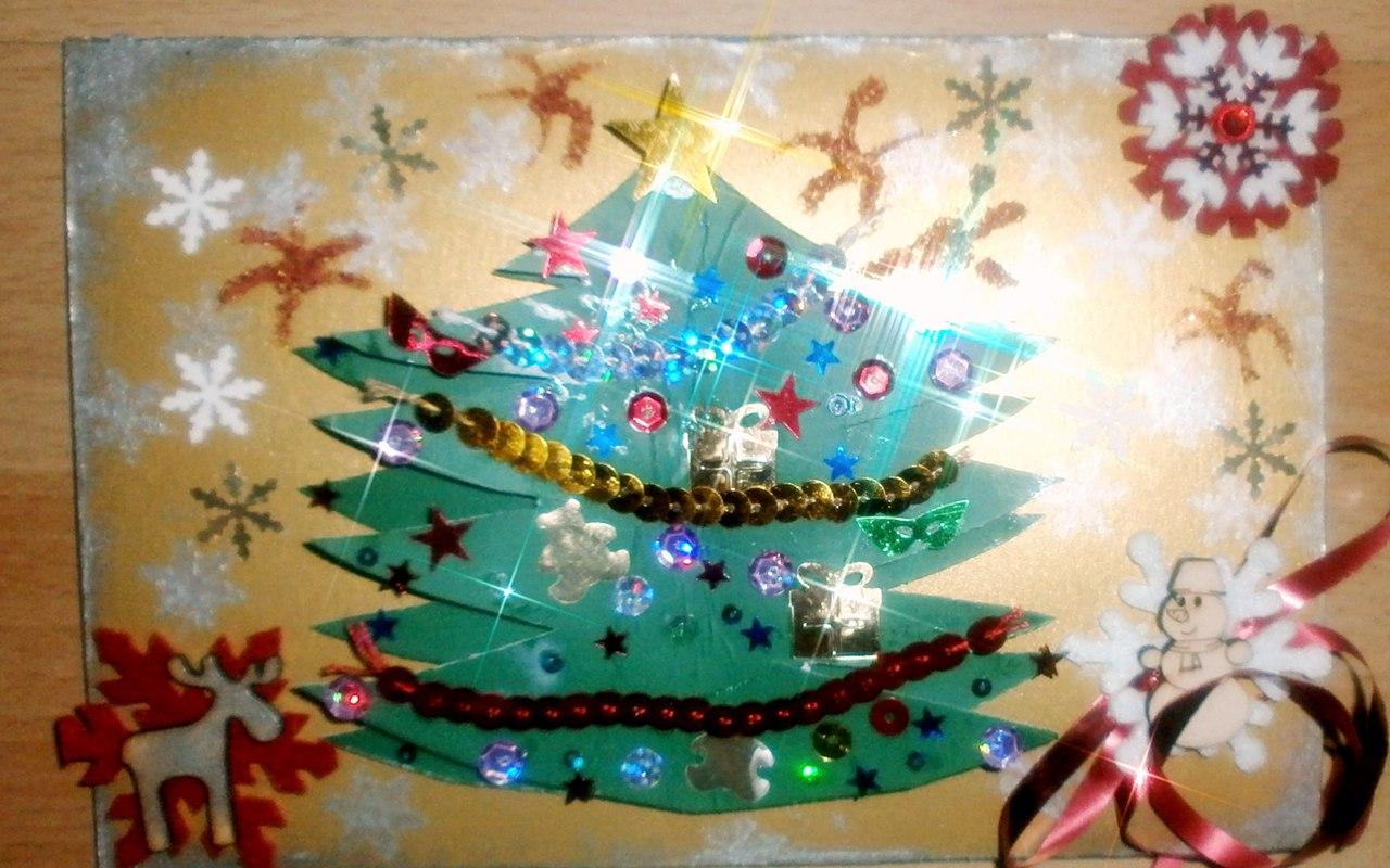 скрапбукинг - мастер-класс по новогодней открытке