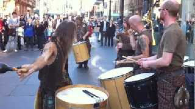 Clanadonia Drummers on Buchanan St. with Surprise Guest - Glasgow Scotland