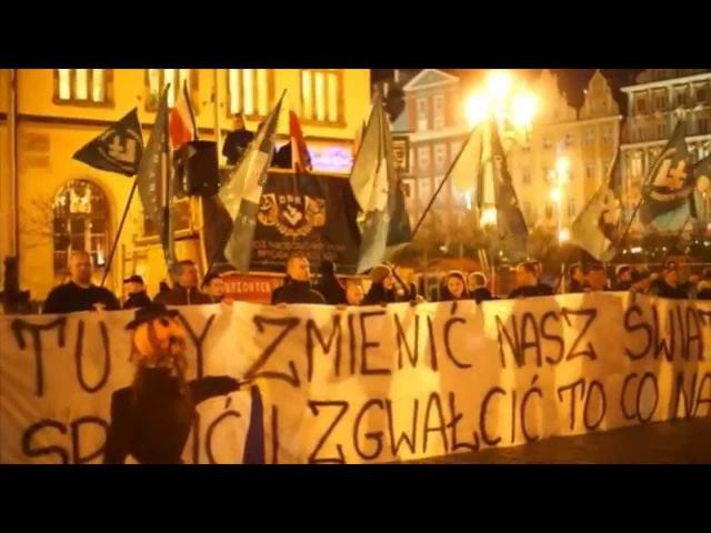 Demonstracja przeciw uchodźcom palenie kukły Żyda Wrocław Demonstration against refugees
