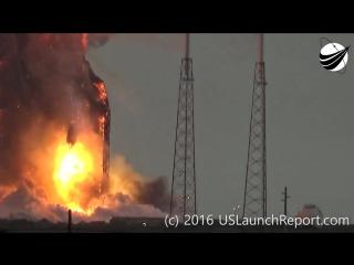 Видеозапись взрыва ракеты Falcon 9 со спутником связи AMOS-6