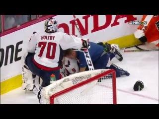 Pierre-Edouard Bellemare big hit on Dmitry Orlov (4/19/16)