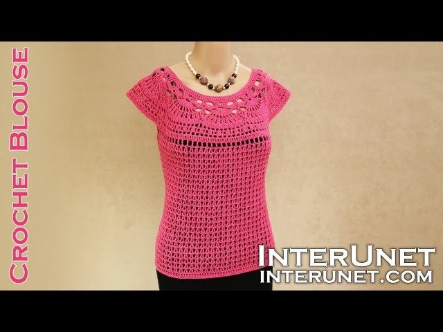 Lace summer top - pink camellia blouse crochet pattern with Spanish subtitles.