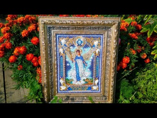 Вышитая икона''Ангел-хранитель домашнего очага''от фирмы ''Образа в каменьях'',офо...