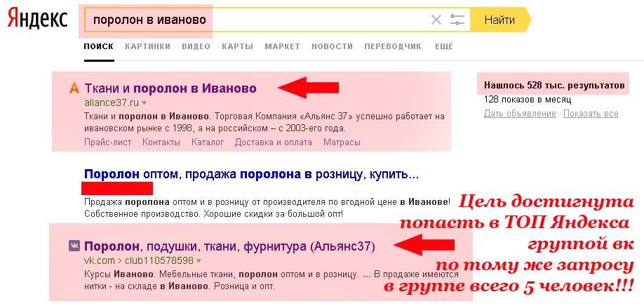 продвижение групп вконтакте в ТОП Яндекса