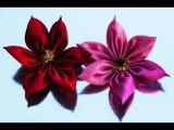 Красивый цветок клематиса из лент, МК / DIY Ribbon flower clematis