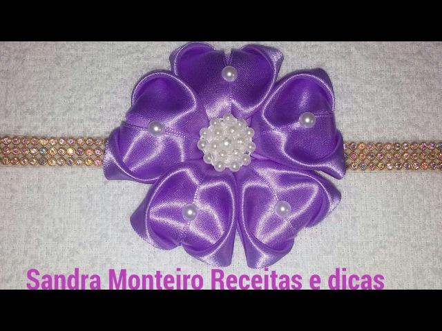 Como fazer Flor coração de Cetim 🌸DIY🌸 Sandra Monteiro Artesanatos