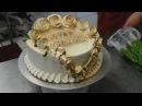 Украшение торта лентами орнаментом и розами из крема Торты на день рождения Оформление тортов