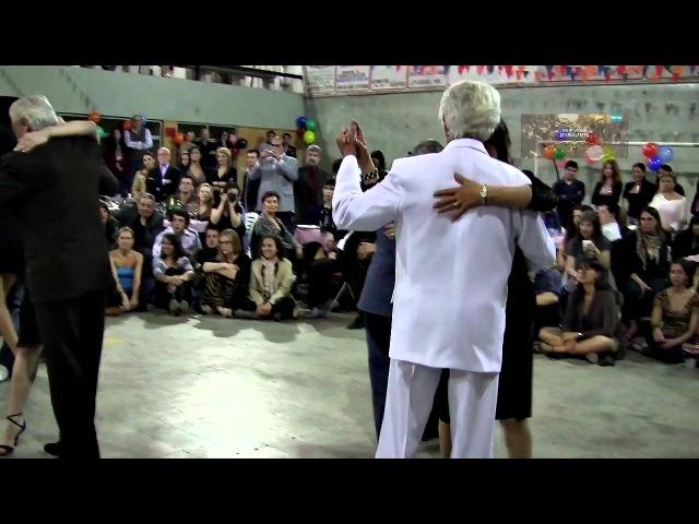 The oldest milongueros on dancing floor. VIDEO 3 Milonga El Morán los mas viejos milongueros