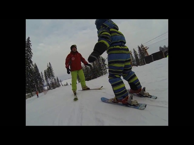 Обучение детей горным лыжам - первые шаги - Марк урок 1