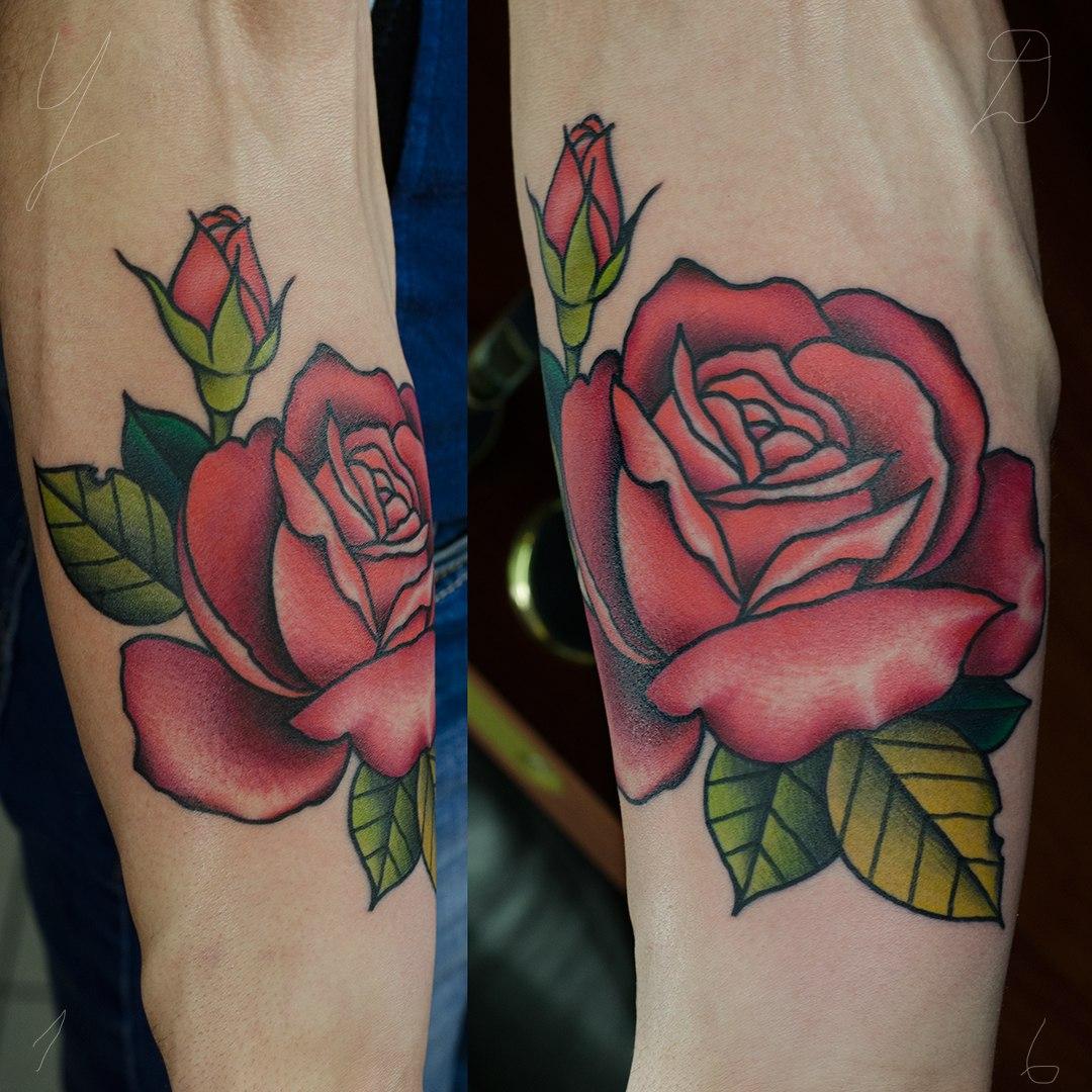 Художественная татуировка «Роза». Мастер Даня Костарев. Работа выполнена на предплечье