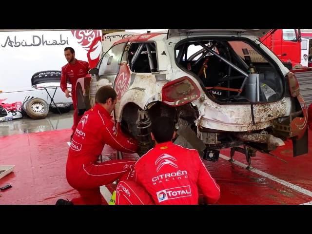 WRC 73 Rally Poland 2016 - 30 min Service of Stephane Lefebvre damaged Citroen WRC