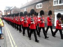 Scots Guards marching military band 1, Wantage, UK, May 2011