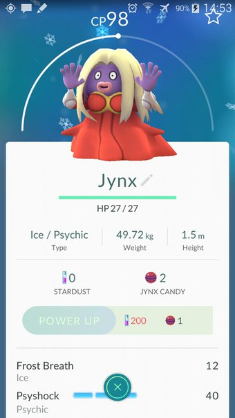 Pokemon GO Jynx 2 уровень