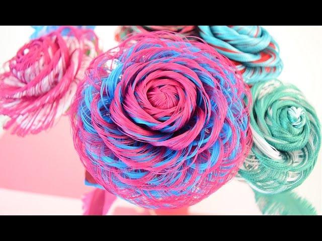 Como hacer una rosa de tela de dos colores Dia de las madres Fabric Flowers Roses - Loveluzlop
