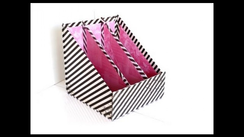 {DIY} 3 Pocket Magazine Holder | Cardboard Storage