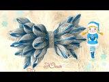 Новогодний ободок канзаши с бантиком из узкой ленты Kanzashi DIY