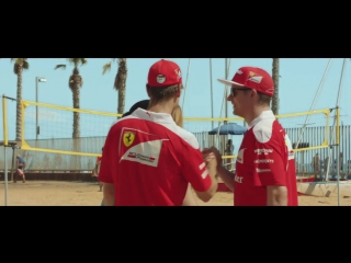 Vettel and raikkonen playing beach volleyball (brazilian gp 2016)