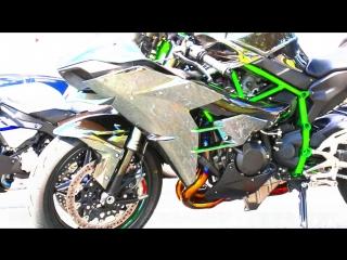 Kawasaki H2 vs 1200HP Supra vs R1M и бонус - Turbo ZX14R aka ZZR1400!