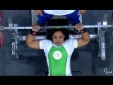 Эстер Оуема жмет 125 кг в весовой категории до 55 кг на Чемпионате Мира среди спортсменов с ПОДА 2014 год