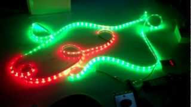 Demonstratie van dream color LED strips (magic color) RGB 5050 IP67 ledstrip 94 functies
