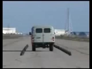 УАЗ 3909 и торможение на скорости 60 км-ч