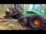 Forwarder John Deere 1110D in deep mud, extreme offroad
