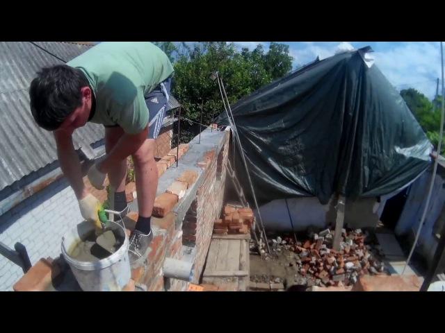 Строим дом, ложем стены, заливаем армапояс и перемычки Серия №3