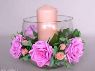 🌸 Мастер-класс - розы из фоамирана, красивый декор подсвечника.