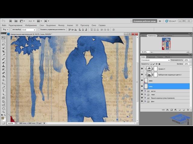 Превращаем коллаж в акварельный рисунок в Фотошоп 2