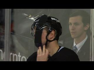 Weird moment as Bailey gets Tavares' stick stuck in visor