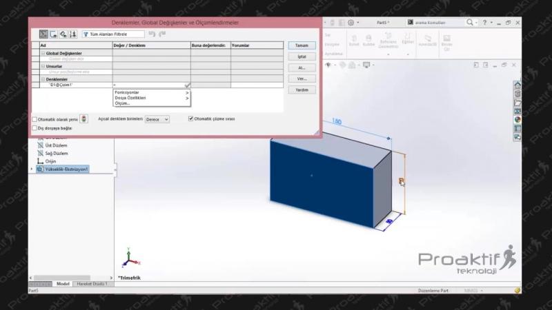 SolidWorks Parça 66 Denklem Oluşturma