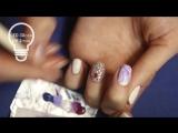 Рисунки гель лаком- дизайн ногтей с Цветами. Нежный маникюр -Магнолия- акварель гель лаками   стразы