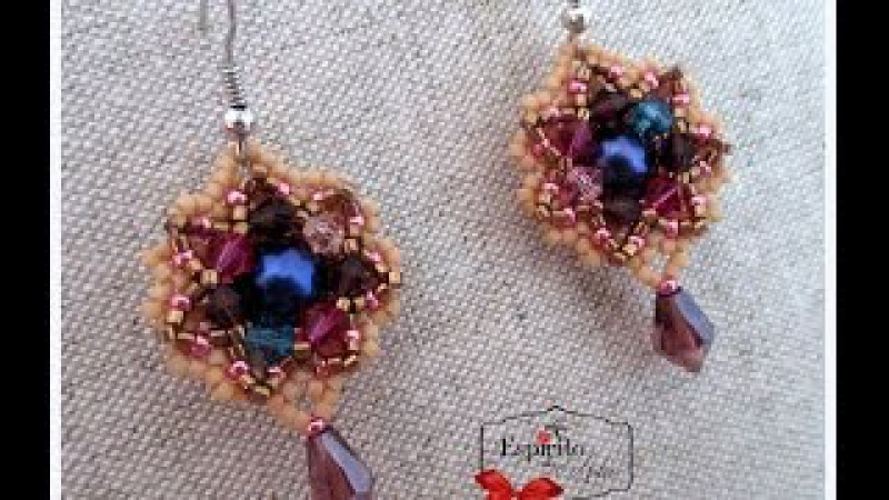 Peeking Out beaded earrings with 8mm pearls and 4mm bicones Beading Tutorial