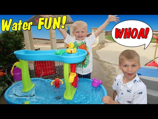 Playtime! Step2 Rain Showers Splash Pond Waterfall Water Table Roller Coaster Fun