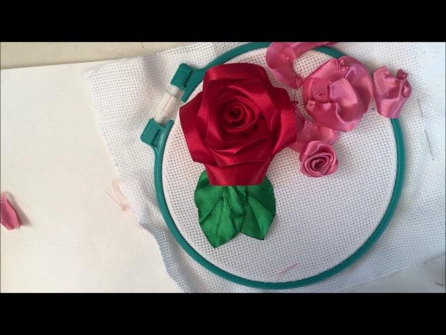 Роза вышитая лентами (из отдельных лепестков)