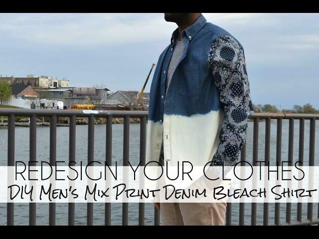 DIY Mens Mix Print Denim Bleach Shirt-(RYC) 23 Part 2