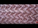 Узор спицами Зиг-заг из вытянутых петель на платочной вязке