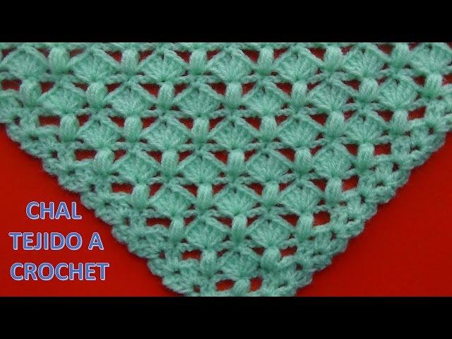 Shawl Tejido a crochet 5 con punto garbanzo y abanicos